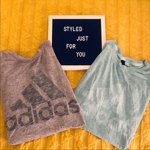 Set of 2 Adidas workout tanks gray and blue